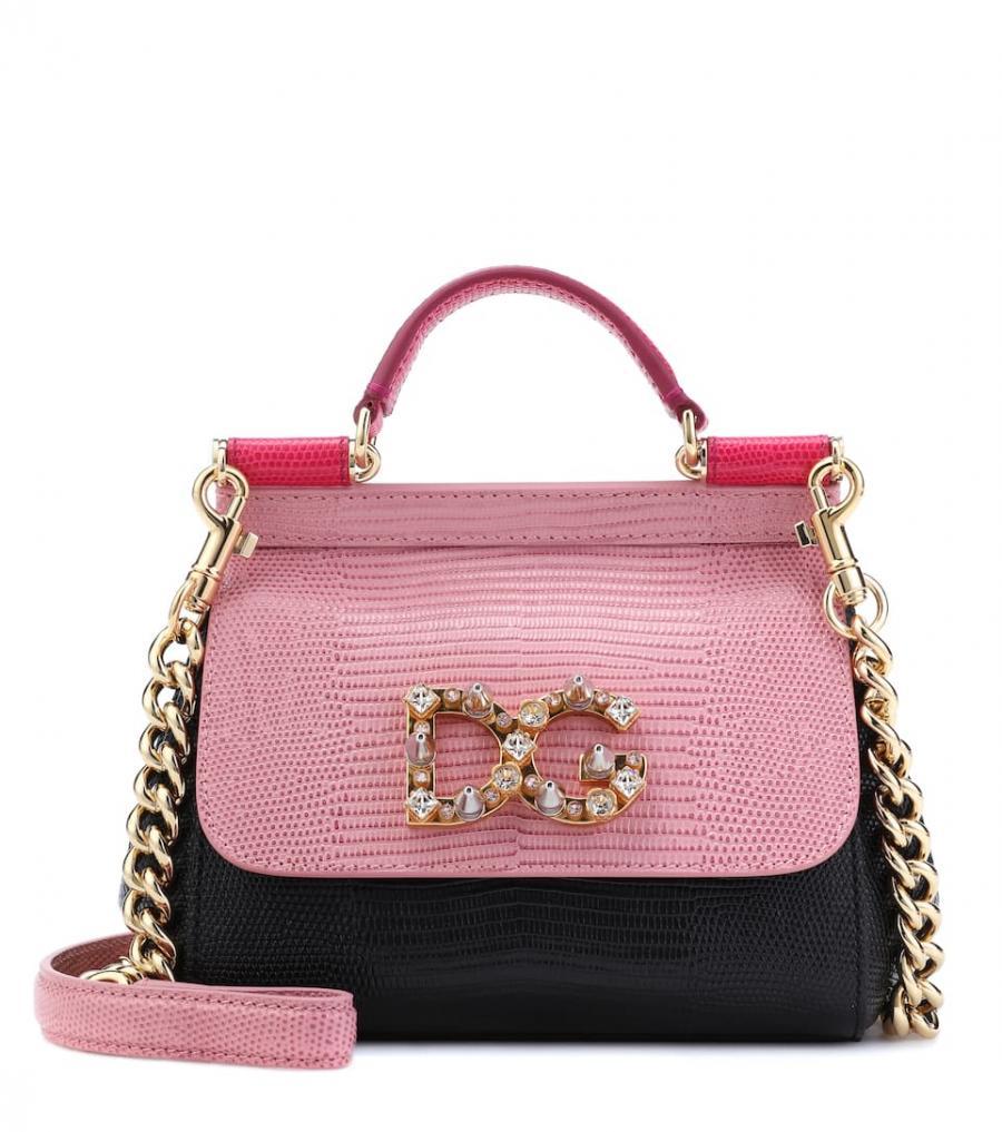 Bolsos al hombro Dolce & Gabbana Mujer | bolso al hombro con correa Sicily Mini de cuero Rosado ⋆ Tutos Gratis