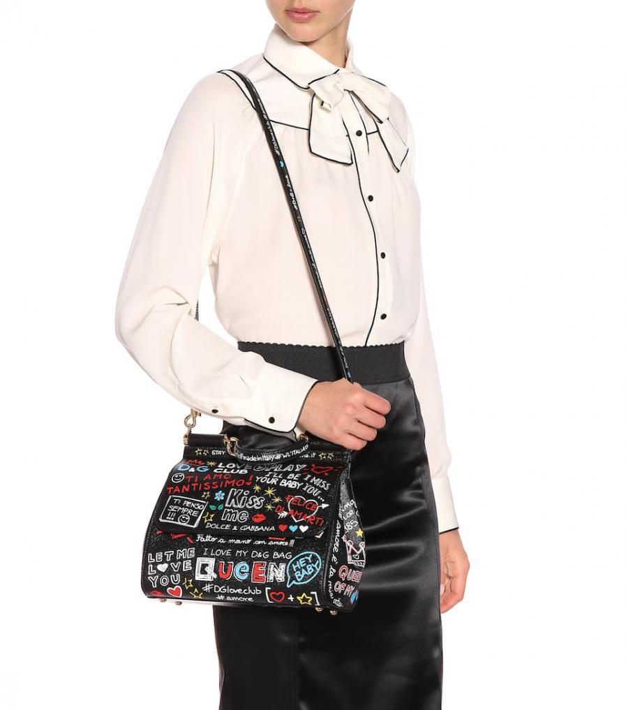 Bolsos al hombro Dolce & Gabbana Mujer | Bolso de piel estampado Sicily Negro ⋆ Tutos Gratis